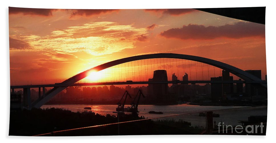 2010 Expo Hand Towel featuring the photograph Shanghai City 12 by Xueling Zou