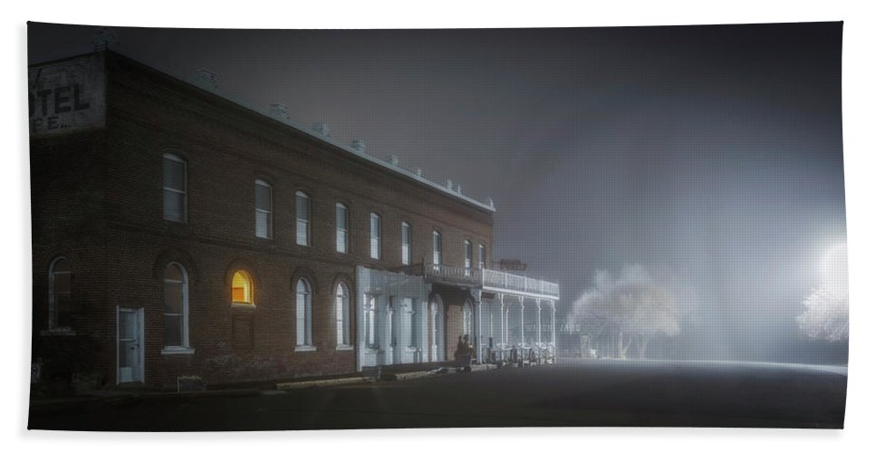 Night Hand Towel featuring the photograph Shaniko Hotel by Cat Connor