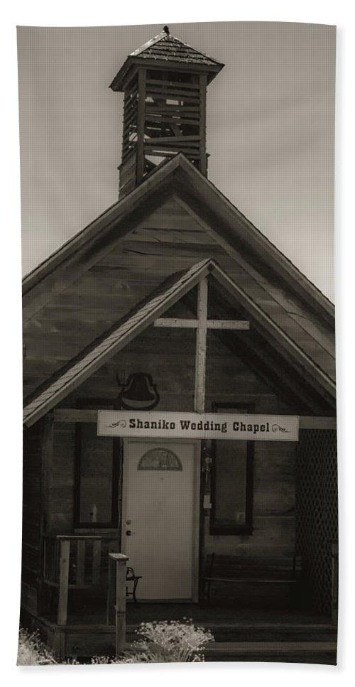 Wedding Bath Sheet featuring the photograph Shaniko Wedding Chapel by Marnie Patchett