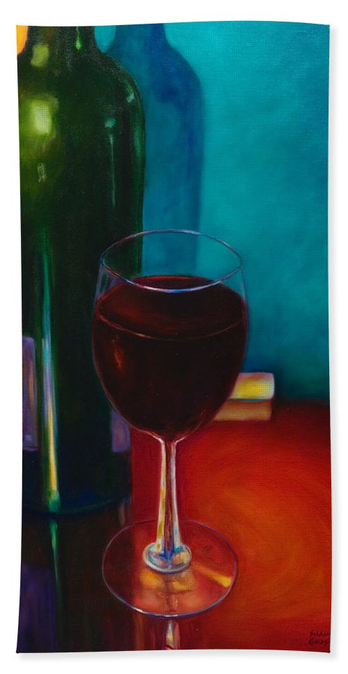 Wine Bottle Hand Towel featuring the painting Shannon's Red by Shannon Grissom
