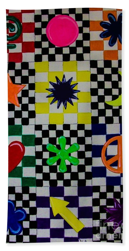 Abstract. Geometric. Rainbow Colors. Shapes. Design. Colorful. Checker Board. Peace Sign. Heart. Star. Moon. Flower Design. Bath Sheet featuring the painting Shapes by Dawn Siegler