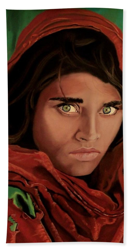 Afghan Girl Bath Sheet featuring the painting Sharbat Gula From Nat Geo Mccurry 1985 by D Turner