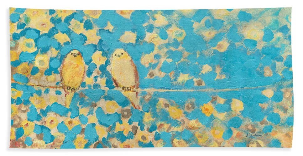 Impressionist Bath Towel featuring the painting Sharing A Sunny Perch by Jennifer Lommers