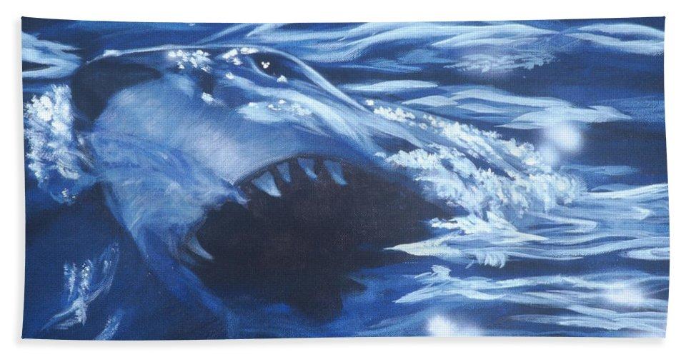 Shark Bath Sheet featuring the painting Shark by Bryan Bustard