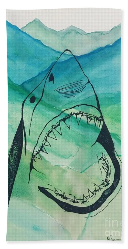 Ocean Bath Sheet featuring the drawing Shark Mountain by Melissa Solorzano