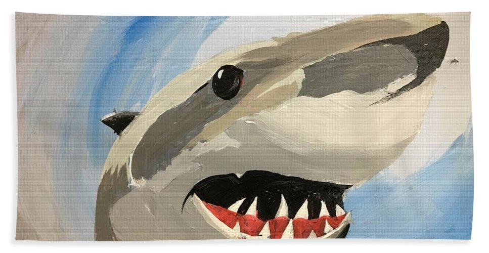 Easterseals Southwest Florida Bath Sheet featuring the painting Sharky Grin by Kristy S