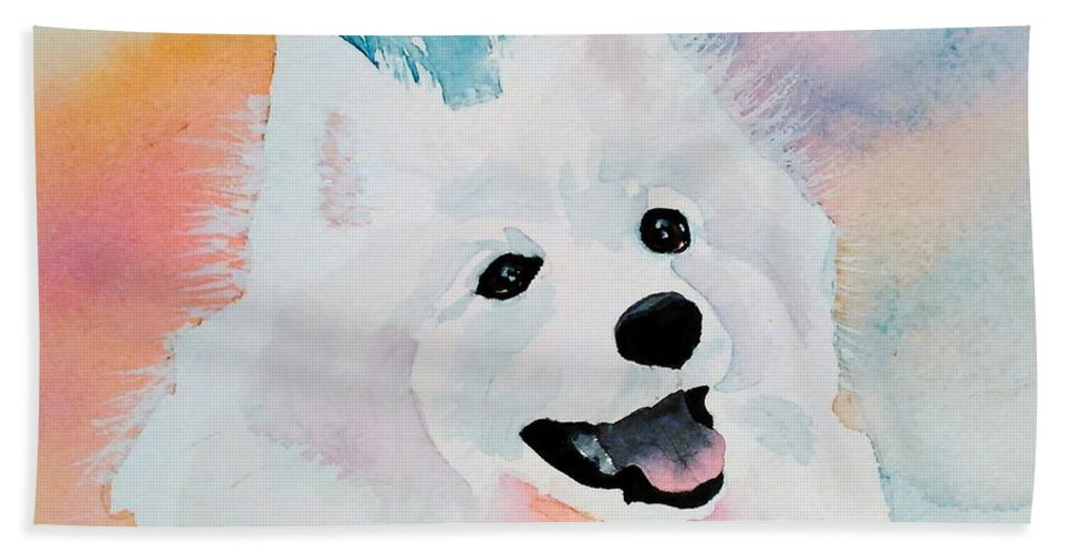 Samoyed Hand Towel featuring the painting Shasta, A Prince Of A Dog by Pat Yager
