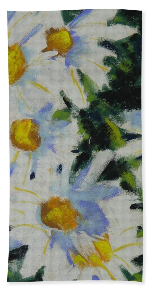 Pastels Bath Towel featuring the painting Shastas by Mary McInnis
