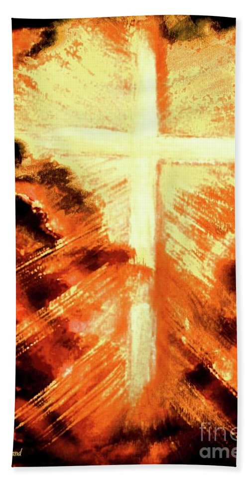 The Cross Bath Sheet featuring the painting Light Shattering Darkness by Hazel Holland