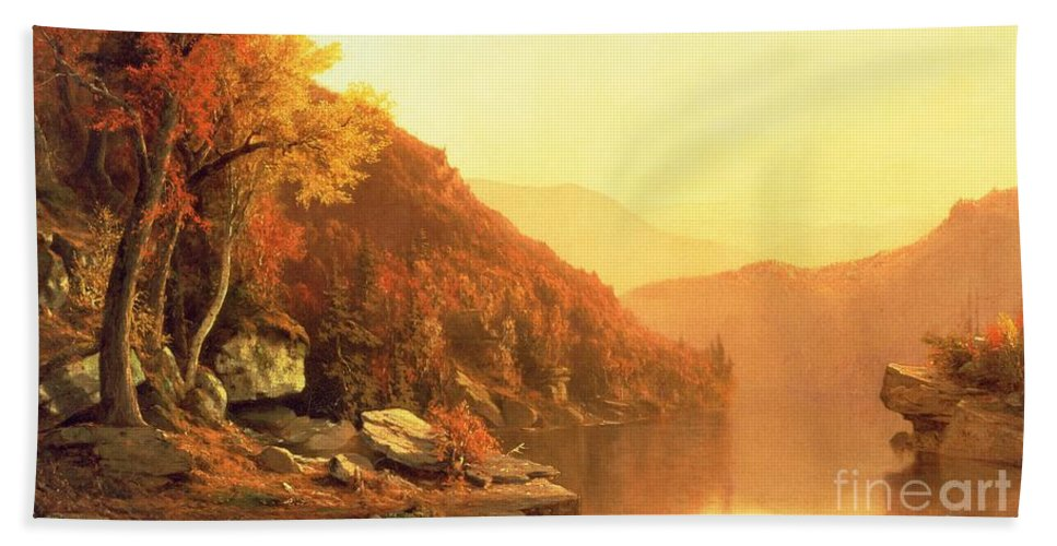 Shawanagunk Mountains Hand Towel featuring the painting Shawanagunk Mountains by Jervis McEntee