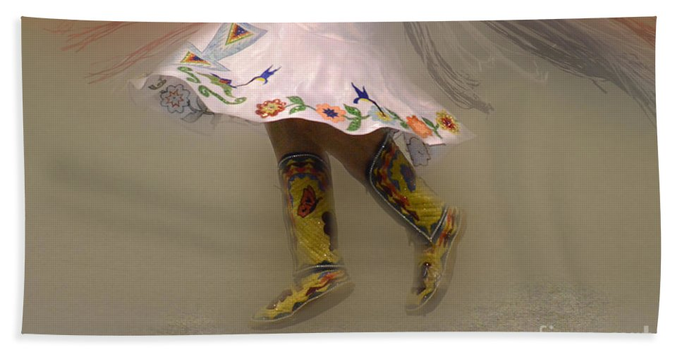 Pow Wow Hand Towel featuring the photograph Pow Wow Shawl Dancer 8 by Bob Christopher