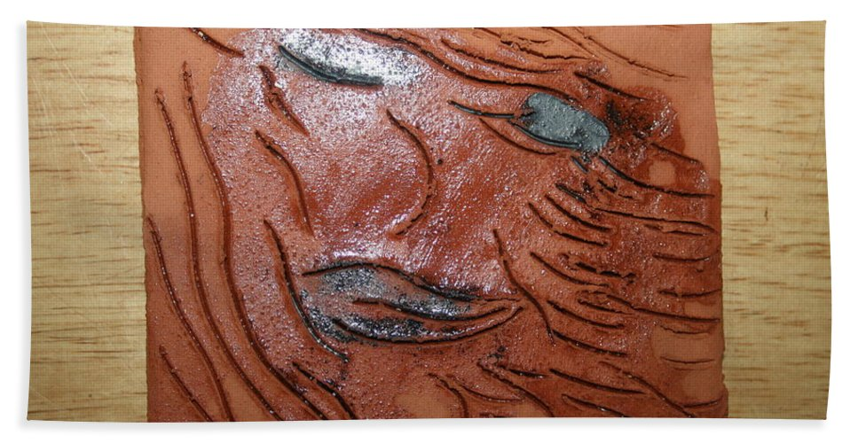 Jesus Hand Towel featuring the ceramic art She - Tile by Gloria Ssali