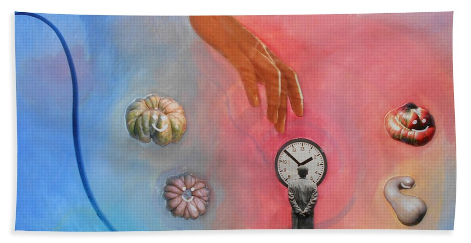 Surreal Surrealist Watercolor Collage Painting Paintings Color Multicolored Hand Time Clock Gourds Photos Man Photography Mystical Spiritual Goddess Hand Towel featuring the painting She Came From Above by Laura Joan Levine