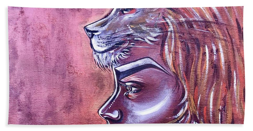 Lion Bath Towel featuring the painting She Has Goals by Artist RiA