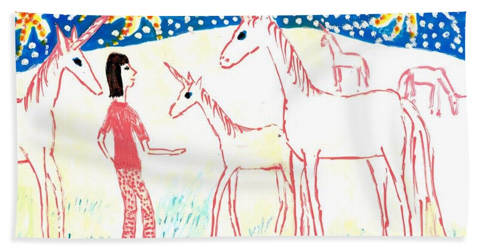 Sue Burgess Bath Sheet featuring the painting She Meets The Moon Unicorns by Sushila Burgess