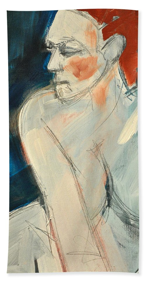 Nude Bath Sheet featuring the painting She Wakes by Tim Nyberg