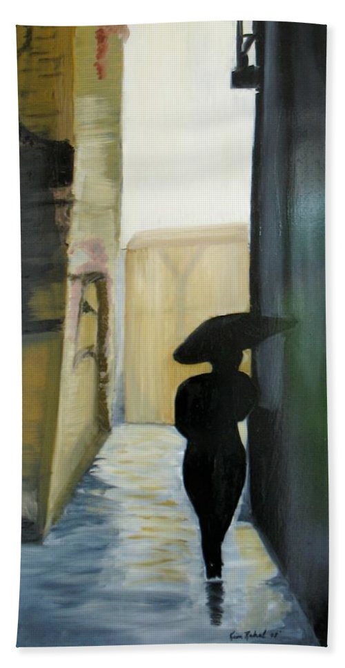Woman Walking Hand Towel featuring the painting She Walks by Kim Rahal