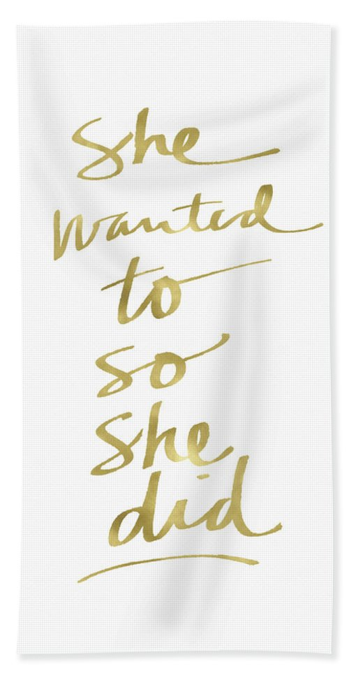 Female Athlete Bath Towel featuring the painting She Wanted To So She Did Gold- Art by Linda Woods by Linda Woods