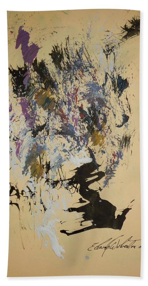 Abstract Bath Sheet featuring the painting She Walks With A Purple Unicorn by Edward Wolverton