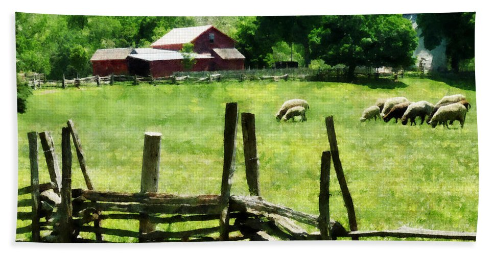 Farm Bath Sheet featuring the photograph Sheep Grazing In Pasture by Susan Savad