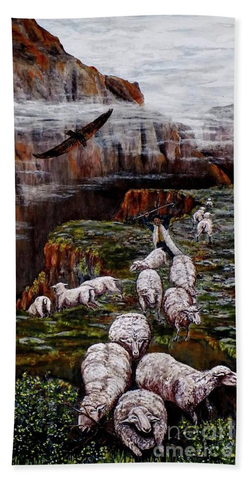 Sheep Bath Sheet featuring the painting Sheep In The Mountains by Judy Kirouac