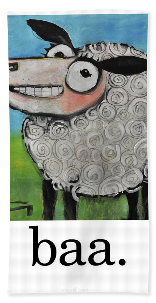 Sheep Bath Towel featuring the painting Sheep Poster by Tim Nyberg