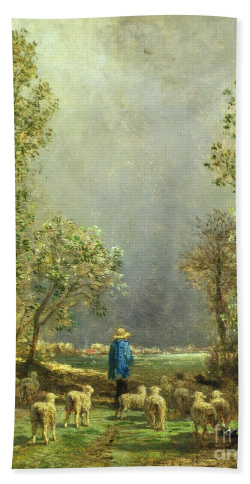 Sheep Bath Towel featuring the painting Sheep Watching A Storm by Constant-Emile Troyon