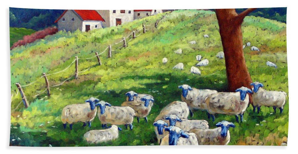 Sheep Hand Towel featuring the painting Sheeps In A Field by Richard T Pranke