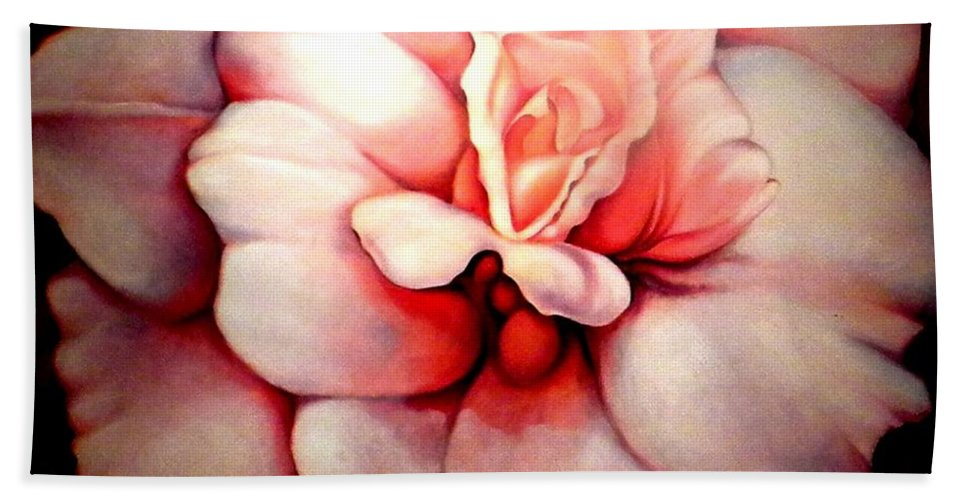 Blooms.large Rose Bath Towel featuring the painting Sheer Bliss by Jordana Sands
