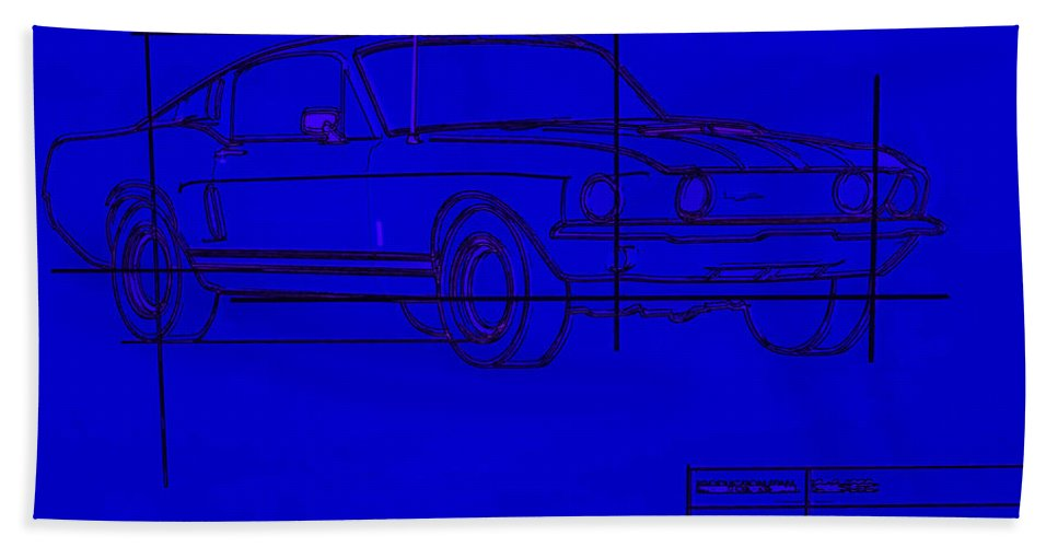 Ford Hand Towel featuring the photograph Shelby Gt Mustang Blueprint by Tommy Anderson