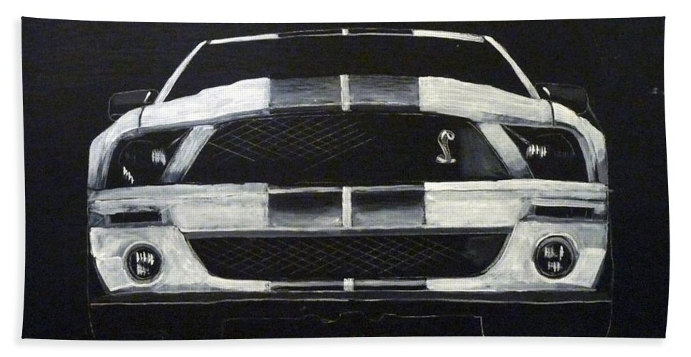 Shelby Bath Sheet featuring the painting Shelby Mustang Front by Richard Le Page