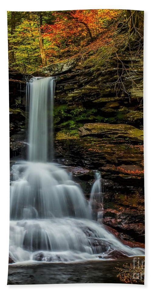 Waterfall Bath Sheet featuring the photograph Sheldon Reynolds Falls by Nick Zelinsky