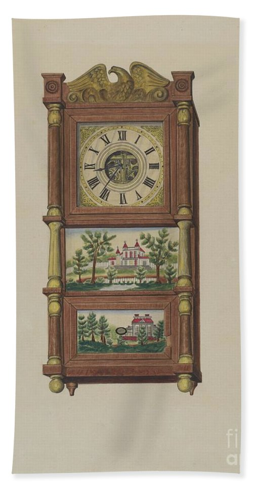 Hand Towel featuring the drawing Shelf Clock by Therkel Anderson
