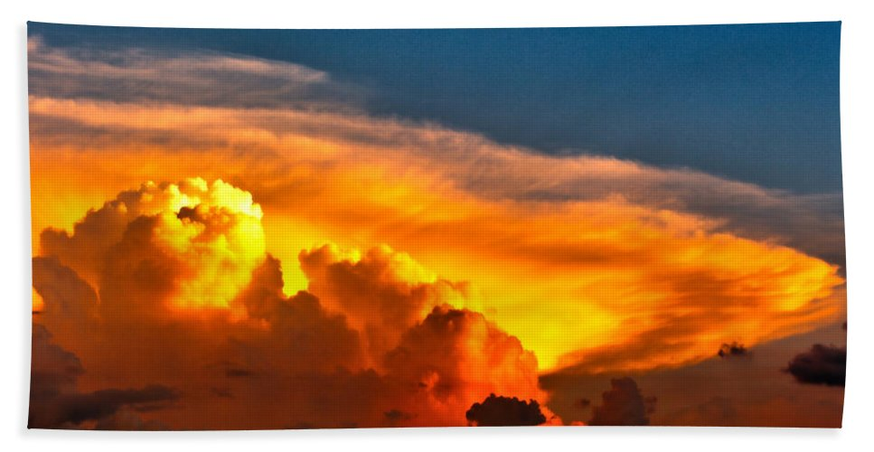 Storm Hand Towel featuring the photograph Shelf Cloud 01 by Larry Jost