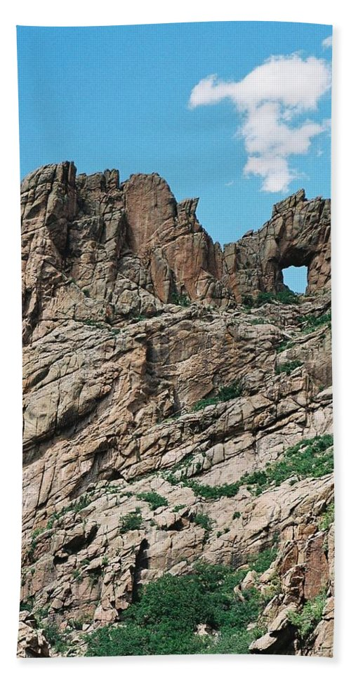 Shelf Road Hand Towel featuring the photograph Shelf Road Rock Formations by Anita Burgermeister