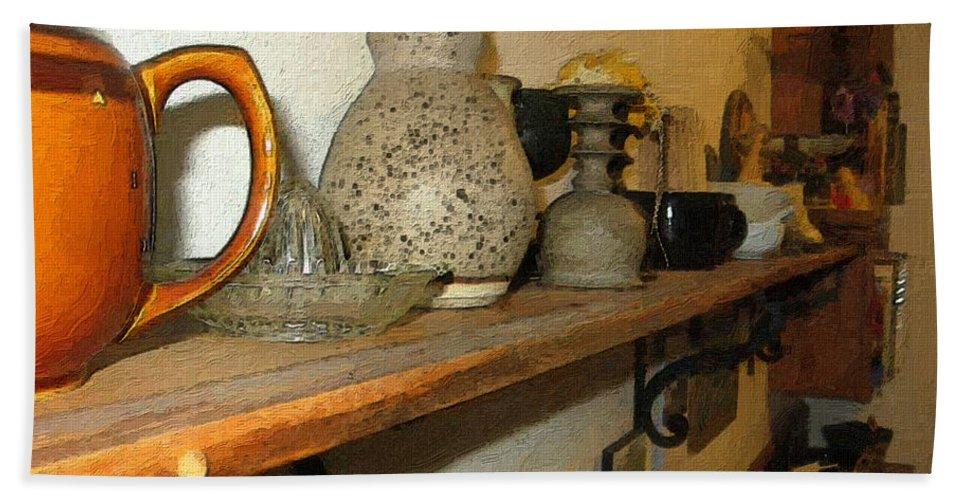 Bibelots Bath Towel featuring the digital art Shelf With Things Treasured by RC DeWinter