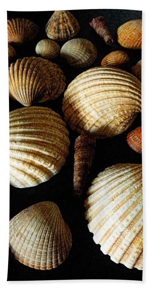 Shell Hand Towel featuring the mixed media Shell Art - D by P Donovan