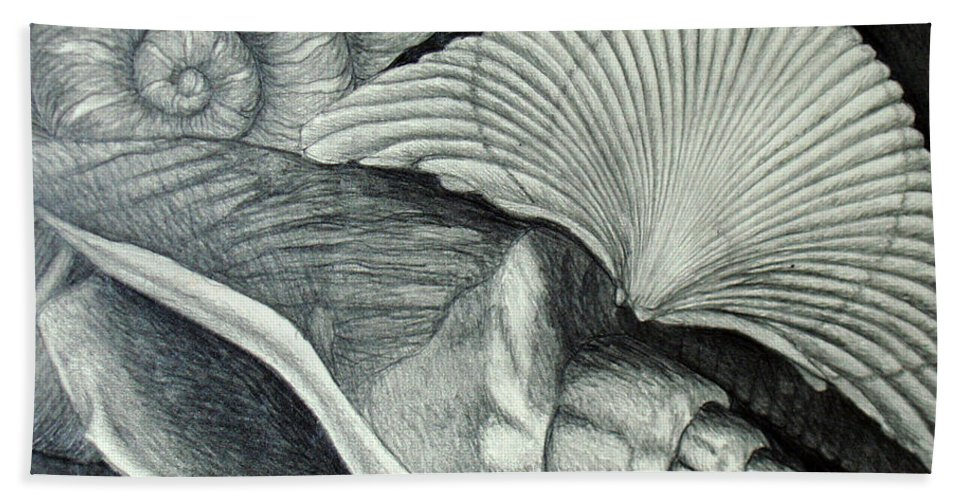 Shells Bath Towel featuring the drawing Shells by Nancy Mueller