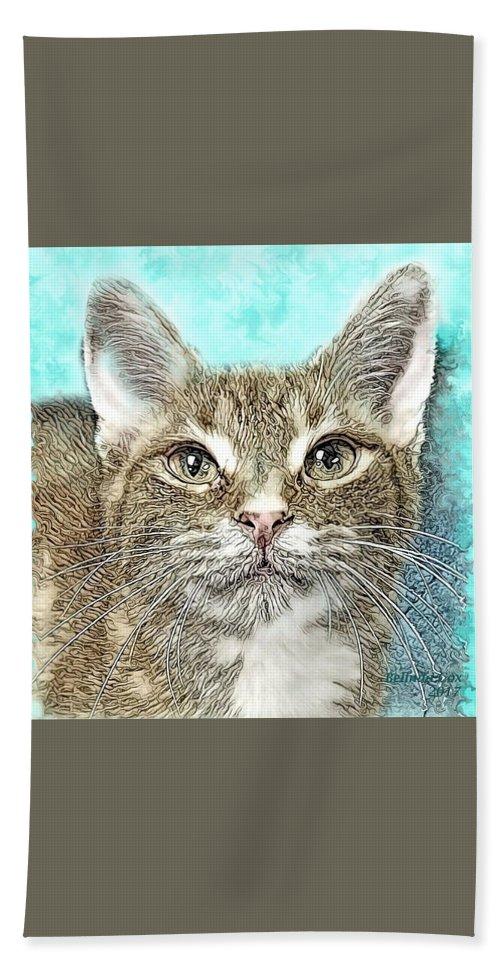 Digital Art Bath Sheet featuring the digital art Shelter Cat Fantasy Art by Artful Oasis