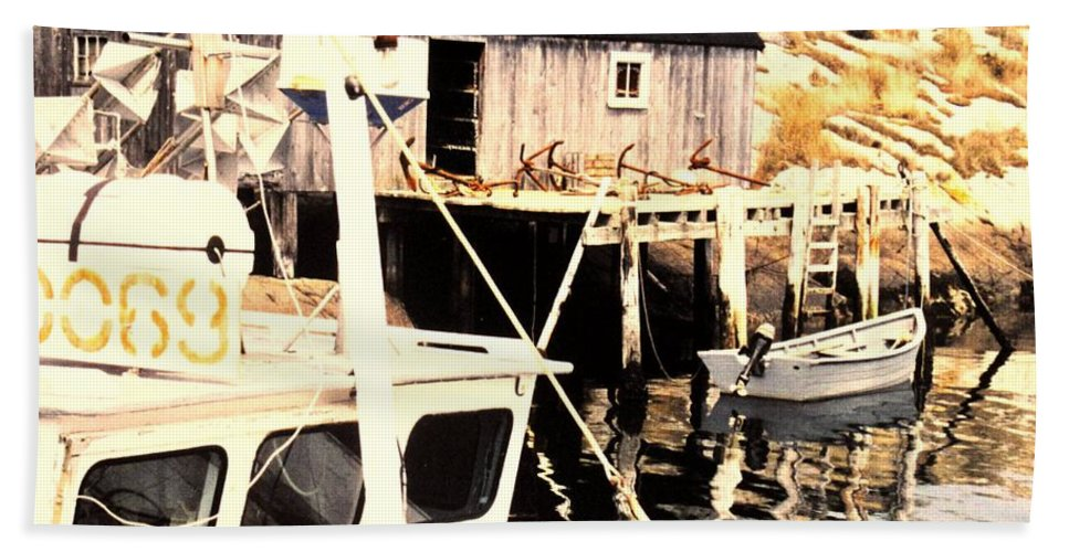 Peggys Cove Bath Towel featuring the photograph Sheltered Port by Ian MacDonald