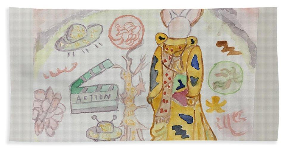 Bath Sheet featuring the drawing Shenya Custom Made Painting by Shen Ya
