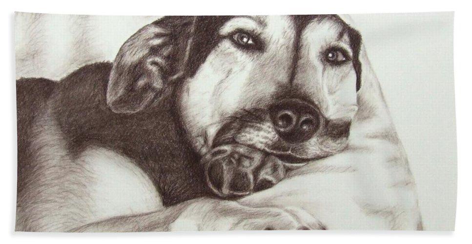 Dog Bath Towel featuring the drawing Shepherd Dog Frieda by Nicole Zeug