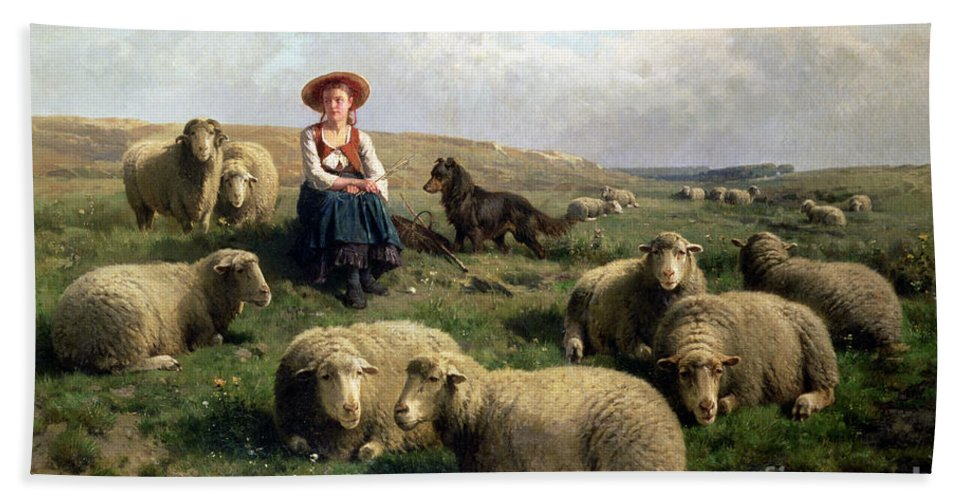 Shepherdess With Sheep In A Landscape By C. Leemputten (1841-1902) And Gerard Bath Towel featuring the painting Shepherdess With Sheep In A Landscape by C Leemputten and T Gerard