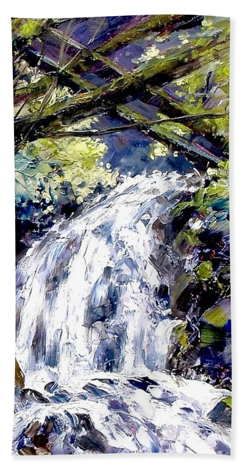 Landscape Bath Sheet featuring the painting Shepherds Dell Falls Coumbia Gorge Or by Jim Gola
