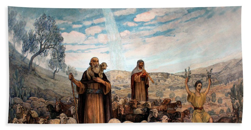 Photo Hand Towel featuring the painting Shepherds Field Painting by Munir Alawi