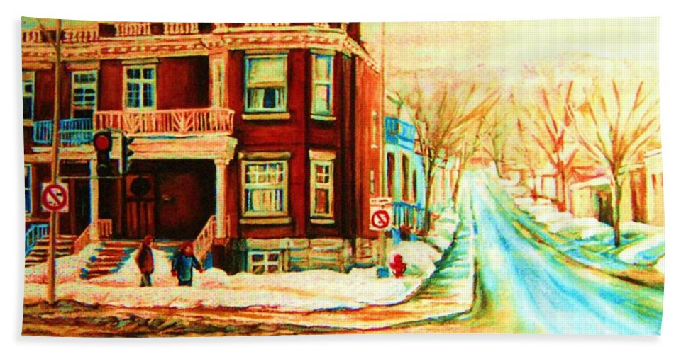 Montreal Hand Towel featuring the painting Sherbrooke In Winter by Carole Spandau