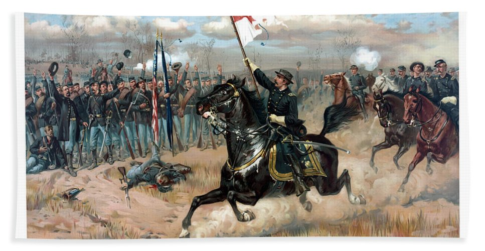 Sheridans Ride Bath Sheet featuring the painting Sheridan's Ride by War Is Hell Store