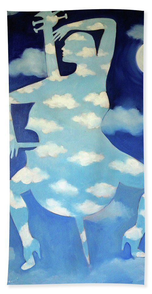 Clouds Hand Towel featuring the painting She's Happiest Playing the Cello by Valerie Vescovi
