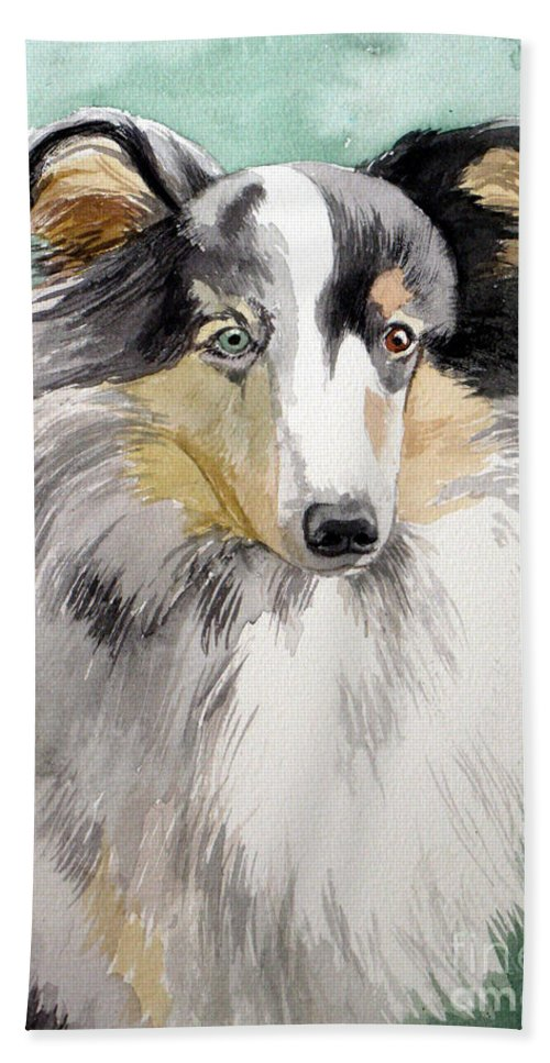 Dog Hand Towel featuring the painting Shetland Sheep Dog by Christopher Shellhammer