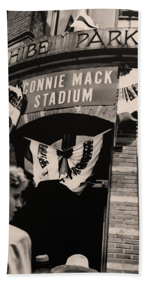 Shibe Park - Connie Mack Stadium Hand Towel featuring the photograph Shibe Park - Connie Mack Stadium by Bill Cannon
